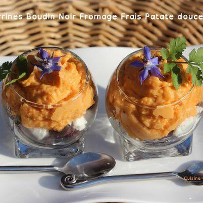 Verrine boudin noir, fromage frais et patate douce