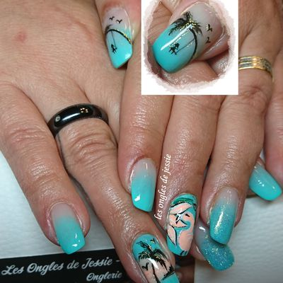 french babycolor turquoise nailart palmier et flamant rose