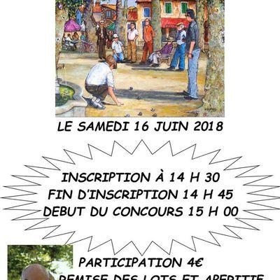 CONCOURS DE PETANQUE DU 16 JUIN 2018