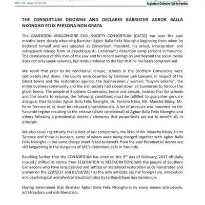 "Cameroon - Anglophone crisis: ""The Consortium disowns and declares Barrister Agbor BALLA NKONGHO Felix Persona Non Grata"""