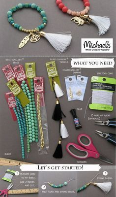 Bracelets avec pampille/gland et perles - 3 modèles