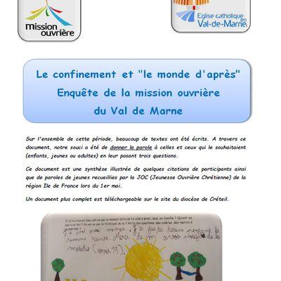 """Le Confinement et le """"monde d'après"""", une enquête de la MO du Val de Marne"""