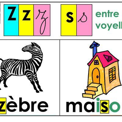 affichage sons CP, 26 : son [z], graphies z, s entre 2 voyelles