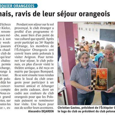 Le Rapide d'Orange et la visite du club de Kielce, dans la presse...