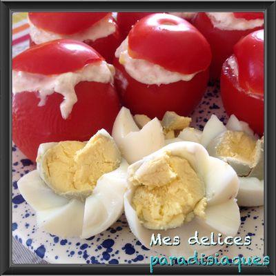 Tomates garnies au thon, st-morêt et maïs