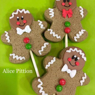 Biscuits décorés de Noël - Sucettes biscuits de Noël - Gingerbread