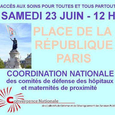 Mobilisation de la Coordination Nationale des Comités de Défense des Hôpitaux et Maternités de Proximité le 23 juin 2018 place de la République à Paris pour la défense des services publics.