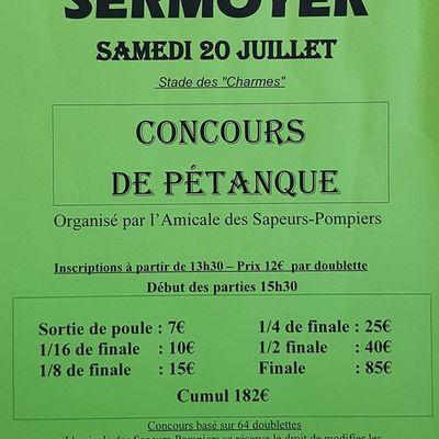 Un concours de pétanque à Sermoyer.