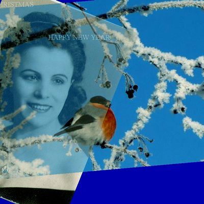 """""""Mary Ellen for Christmas"""" digital collage by Lidia Chiarelli, Italy"""
