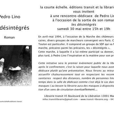 Pedro Lino dédicace Les désintégrés à la librairie transit de Marseille