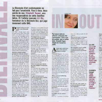 la biennale de Lyon répond à Lili-oto dans le magazine lyonnais Mag 2 Lyon