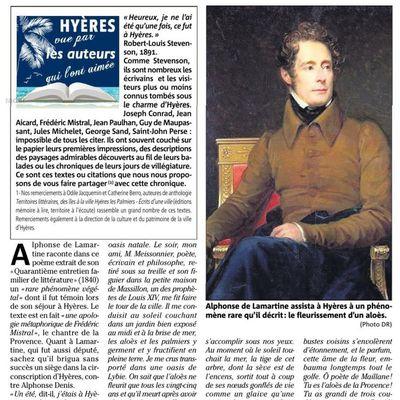 """""""Hyères vue par les auteurs qui l'ont aimée"""" une rubrique dans Var Matin : LAMARTINE"""