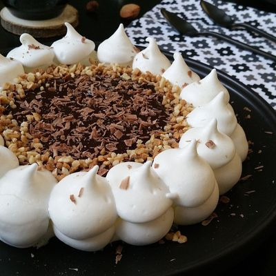 Pavlova ganache au chocolat & pralins