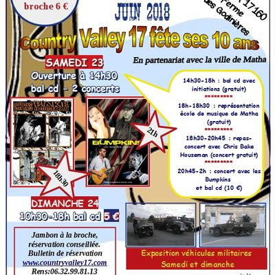 Playlist et affiche festival country - A matha 23 et 24 juin 2018
