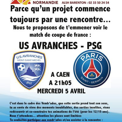 inscription match de coupe de France : Avranches - PSG