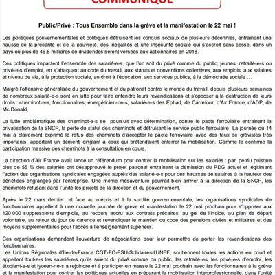 PUBLIC - PRIVÉ : Tous ENSEMBLE dans la grève et la manifestation le 22 mai [Communiqué unitaire en Ile-de-France :  CGT - FO - FSU - Solidaires - UNEF ]