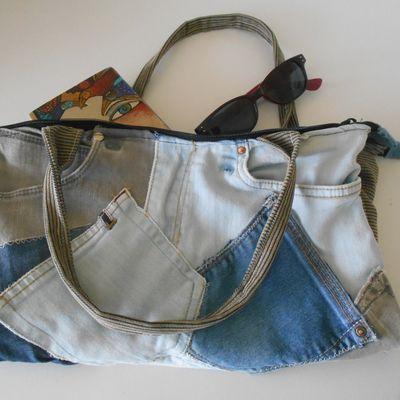 sac en jean, sac plié, deux pochettes