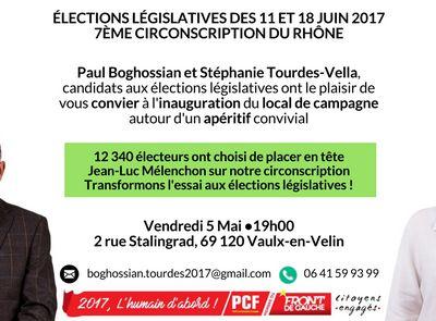 Inauguration du local de campagne, Vendredi 5 mai à 19h !