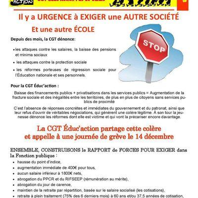 Grève du 14 décembre : le bulletin CGT Educ'infos 62 de décembre 2018