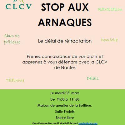 """Stop aux arnaques """"Le délai de rétractation"""" le 03 mars 2020 - quartier de la Bottière"""