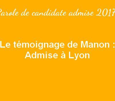 Le témoignage de Manon - Admise à Lyon