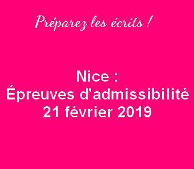 Nice 2019 : Préparez les écrits