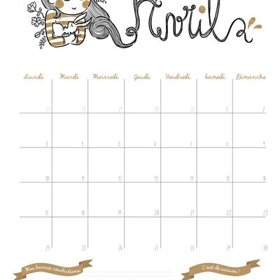 Calendrier 2017 - avril - free printable