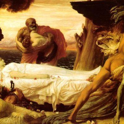 Frederic Leighton - Hercule luttant contre la mort pour le corps d'Alceste