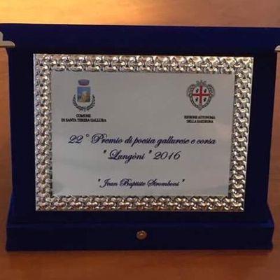 """Très honoré d'avoir reçu la targa """"Jean-Baptiste Stromboni"""" au concours de poésie corse et gallurese de la commune de Santa Teresa, pour mon adaptation du célèbre poème d'Henley, """"Invictus""""."""