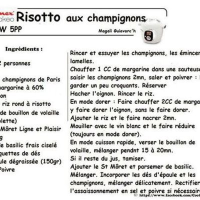 Risotto champignons weight watchers au cookeo