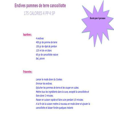 Endives pommes de terre cancoillotte weight watchers cookeo