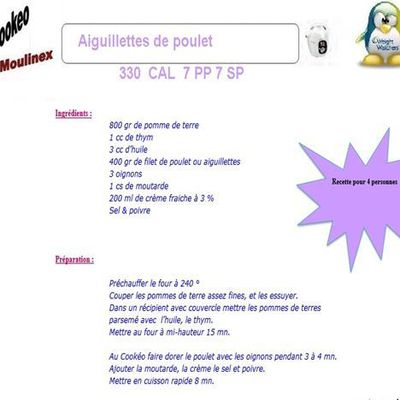 Aiguillettes de poulet weight watchers cookeo