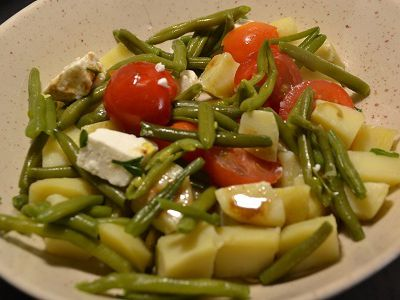 Salade pommes de terre tomates haricots  recette cookeo