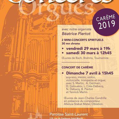 Concerts de Carême, 29-30 mars et 7 avril