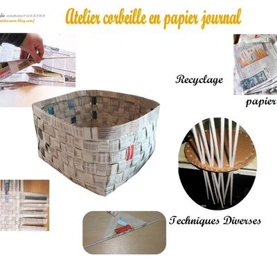 Atelier corbeille en papier journal