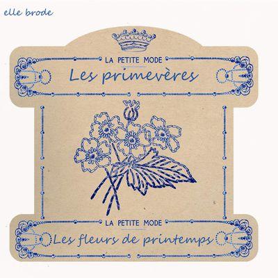 Les fleurs de pintemps ,les primevères (2/6), en carte à fil à collectioner
