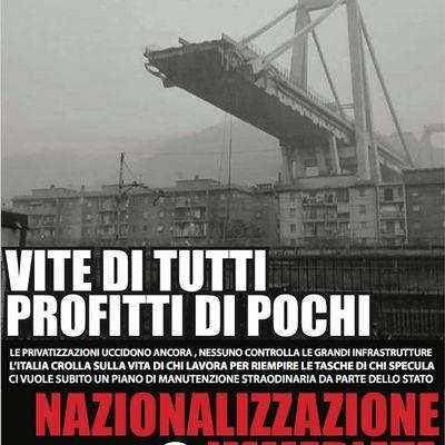 Catastrophe de Gênes : premières réactions du Parti Communiste (PC) en Italie