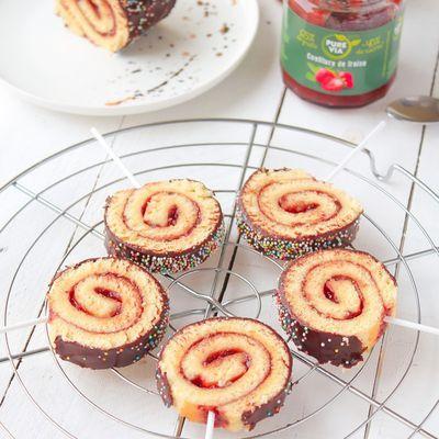 Sucettes de Gâteau Roulé Confiture & Chocolat {Degusta Box de Février}