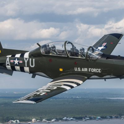 "Beechcraft T-6 Texan II - 455th Flying Training Squadron (455th FTS) - D-Day stripes"" in honour of the 455th Bombardment Squadron B-26 Marauders"