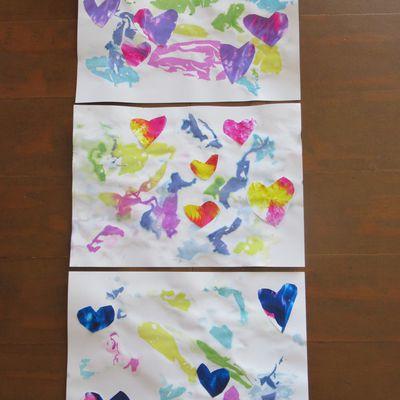 Coeur maman peinture propre crépon