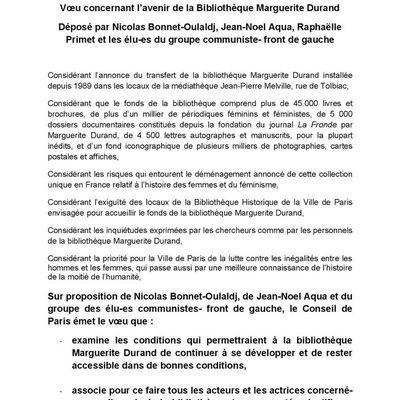 Le Conseil de Paris au secours de la bibliothèque Marguerite Durand