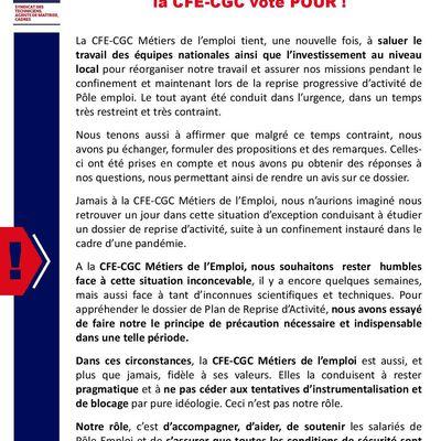 Explication de vote CFE-CGC Métiers de l'Emploi Plan de Reprise d'activité à Pôle emploi.