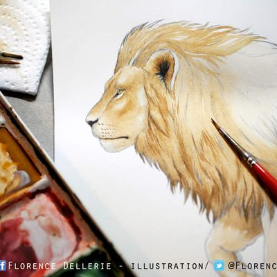 Illustration en cours : lion à l'aquarelle