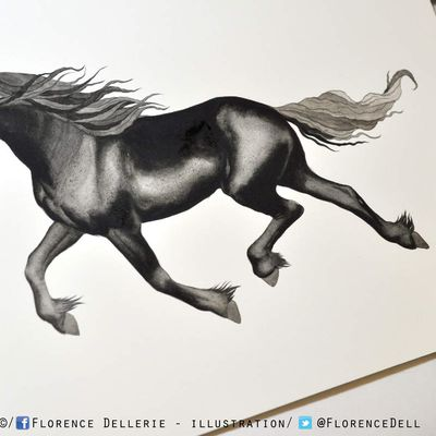 Illustration en cours : cheval frison à l'aquarelle
