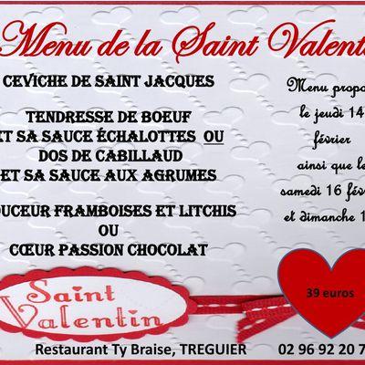 TREGUIER : Le restaurant TY BRAISE dévoile son menu de la Saint Valentiin 2019
