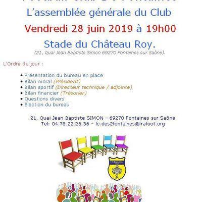 L'ASSEMBLE GENERALE DU CLUB 2019