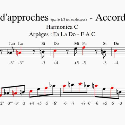 Notes d'approches - Accords Majeurs - Harmonica C