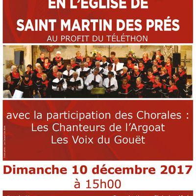 Pour le Téléthon, Les Chanteurs d'Argoat en Concert à St Martin des Prés
