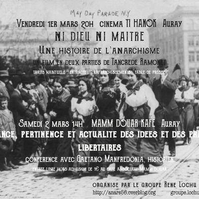 """Auray : ven 1er mars Cinéma """"Ni dieu ni maître"""" et sam 2 mars conférence """"Naissance, pertinence et actualité des idées et pratiques libertaires"""""""