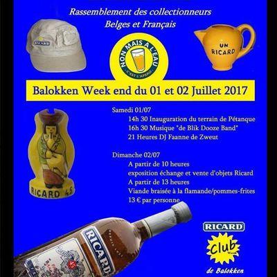 """RICARD : 02/07/2017 """" WERVIK - De Balokken """" rencontre des collectionneurs d'objets RICARD"""